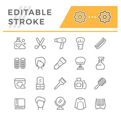 Set line icons hairdressing vector