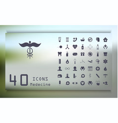 set medecine and health flat icons collection vector image