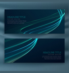 Set of dark wave banners template vector