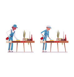 set of male and female janitor dusting the desk vector image