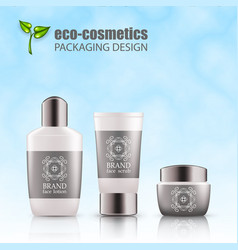 Set realistic green glass bottles eco cosvetic vector