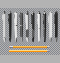 set realistic office elegant pens and pencil vector image
