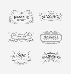 set vintage massage spa therapy logo vector image