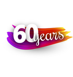 sixty years greeting card with colorful brush vector image