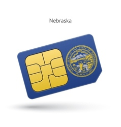 State of Nebraska phone sim card with flag vector