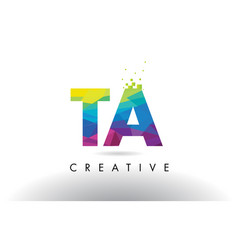 Ta t a colorful letter origami triangles design vector