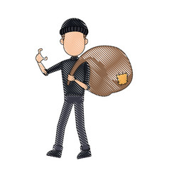 Thief stealing money cartoon hacker stealing a bag vector