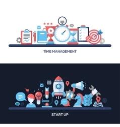 Time Management Start Up Flat Design Concept vector