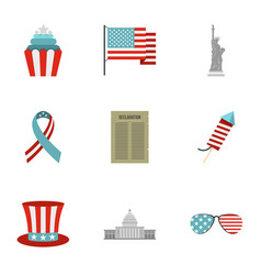 Usa independence day icon set flat style vector