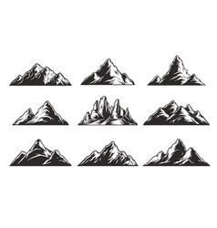 vintage monochrome mountain landscapes set vector image