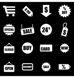 white shopping icon set vector image