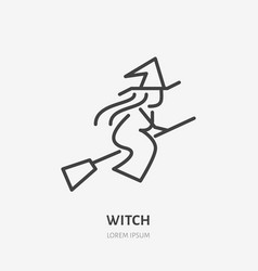 witch flying on broomstick flat line icon vector image
