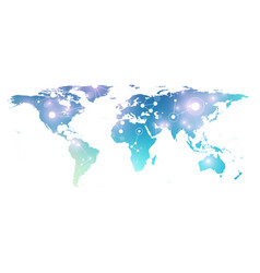 world map with global technology networking vector image