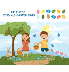 young sister and brother searching for easter eggs vector image