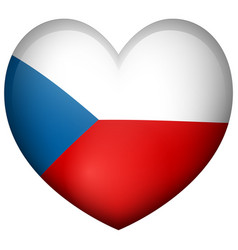 badge design for czech republic in heart shape vector image