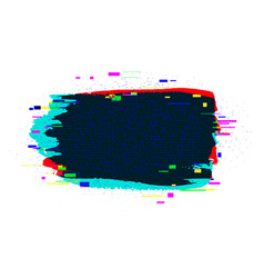 Brush strokes banner with glitch rgb effect vector