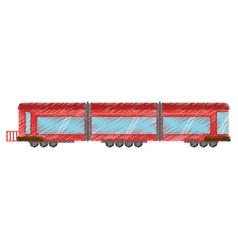 drawing drawing train wagon passenger vector image