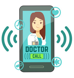 flat mobile doctor personalized medicine vector image
