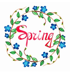 Watercolor cute spring wreath with blue romantic vector image