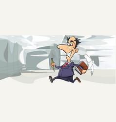 cartoon happy man in suit running in the office vector image
