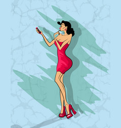 glamorous lady makes selfie on her phone vector image vector image