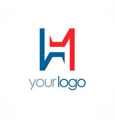 letter h shape color logo vector image