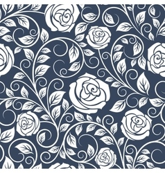Seamless pattern of white roses vector image vector image
