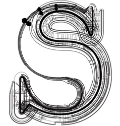 Technical typography Letter s vector image