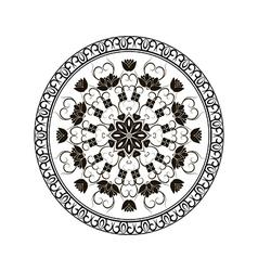 black round floral ornament vector image