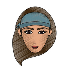 color pencil cartoon front face woman with hat vector image vector image