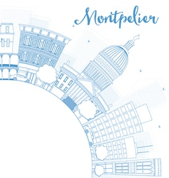 Outline Montpelier Vermont city skyline vector image vector image
