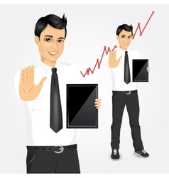 young businessman with tablet screen vector image vector image