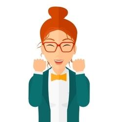 Cheerful woman experiencing euphoria vector image vector image