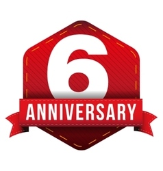 Six year anniversary badge with red ribbon vector image