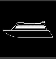 transatlantic cruise liner white color path icon vector image