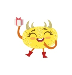 Yellow Friendly Monster With Hornes Wearing Red vector image vector image