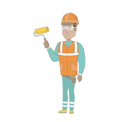 young hispanic house painter holding paint roller vector image