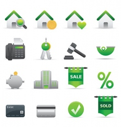 12 green real state icons vector