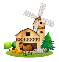 A horse outside the barnhouse at the farm vector image