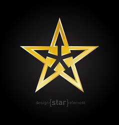 Abstract Gold star with arrows on black background vector
