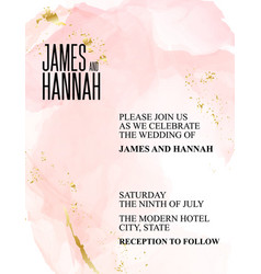 Alcohol ink rose gold wedding invitation template vector