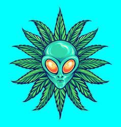 Alien tropical weed marijuana vector