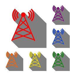 antenna sign set of red orange vector image
