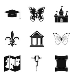 Antiquity icons set simple style vector