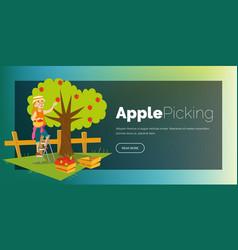 apple picking horizontal banner vector image