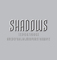 Artistic abstract display font shadows white vector