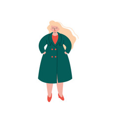 Attractive blonde curvy girl in fashion trench vector