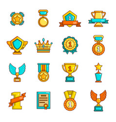 Awards medals cups icons set simple style vector