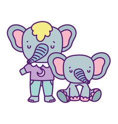 bashower cute elephants with clothes hearts vector image