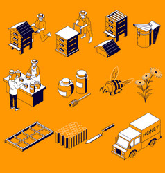 beekeeping isometric icons collection vector image